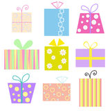Gift boxes. Set of nine gift boxes Royalty Free Stock Image