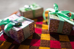 Gift boxes. With key and ribbon bows closeup Royalty Free Stock Photography