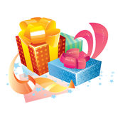 Gift boxes. Illustration of three gift boxes Stock Images