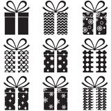 Gift Boxes. A set of black and white gift box with a pattern Royalty Free Stock Photos