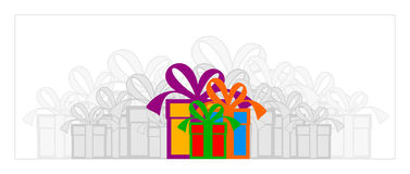 Gift Boxes. 3 Gift boxes with bright colors with a lot of gray boxes in the background Royalty Free Stock Images