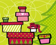 Gift boxes. Gift Christmas boxes stacked on top of each other on festive green background Royalty Free Stock Images