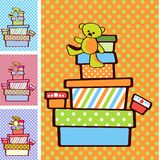 Gift boxes. Stacked on top of each other on festive bright background in variety of colours for boy and girl option Royalty Free Stock Photos