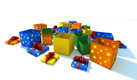 Gift boxes - 3d isolated. Illustration on white Royalty Free Stock Photos