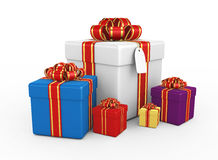 Gift boxes - 3d render. Gift boxes on the white background - 3d render Royalty Free Stock Photography