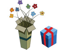 Gift boxes. Flowers getting out from the box Stock Image
