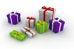 Gift boxes. 3d isolated illustration on white Stock Images