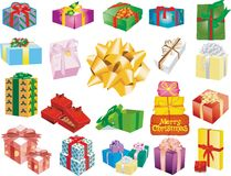 Gift boxes. Sections of gift boxes in a white background above Stock Photography