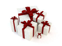 Gift boxes. A computer generated image of some assorted gift boxes with red ribbons vector illustration