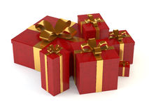 Gift boxes. A computer generated image of some assorted gift boxes with golden ribbons stock illustration