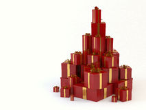 Gift boxes. A computer generated image of a stack of assorted gift boxes with golden ribbons stock illustration