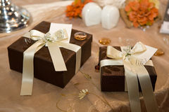 Gift boxes. Wrapped with elegant ribbon Royalty Free Stock Photo