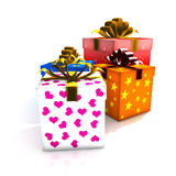 Gift boxes. 3d isolated illustration (christmas / valentine's day / wedding Stock Photos