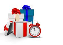 Gift boxes and alarm clock Royalty Free Stock Image