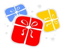 Gift Boxes And Stars Royalty Free Stock Photography