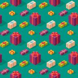 Gift boxes pack composition event greeting isometric birthday seamless pattern background vector illustration. Gift boxes anniversary event satin greeting Royalty Free Stock Image