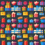 Gift boxes pack composition event greeting object birthday seamless pattern background vector illustration. Royalty Free Stock Images