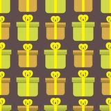 Gift boxes pack composition event greeting seamless pattern birthday vector illustration. Stock Photo
