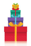 Gift boxes background.Vector color presents illust Royalty Free Stock Photography