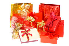 Gift boxes and bags. Stock Images
