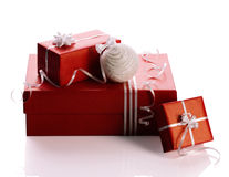 Gift boxes and ball Stock Photography