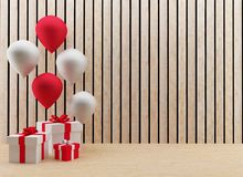 Gift boxes with balloons festival and celebration in 3D render image. The gift boxes with balloons festival and celebration in 3D render image Royalty Free Stock Images