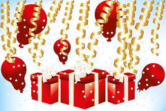 Gift boxes and balloons - Stock Illustration. Red gift boxes and red balloons with gold confetti royalty free illustration