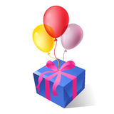 gift boxes with balloons Royalty Free Stock Photos