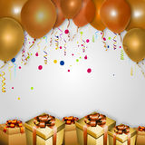 Gift boxes and balloons Royalty Free Stock Photo