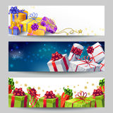 Gift Boxes Banner Set Royalty Free Stock Image