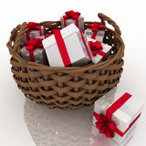 Gift boxes in a  basket Stock Photo