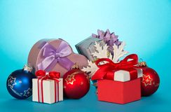 Gift boxes and beautiful Christmas toys Royalty Free Stock Photography