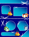Gift boxes, bells, banners and scissors Royalty Free Stock Image