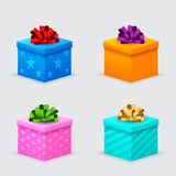 Gift boxes for a birthday with bows Stock Photography