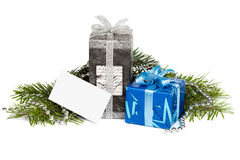Gift boxes and blank card Royalty Free Stock Image