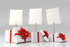 Gift boxes with blank cards. And red bows royalty free illustration