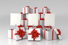 Gift boxes with blank cards. With stack of boxes in background vector illustration