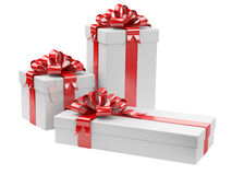 Gift boxes with blank gift tag Stock Photo