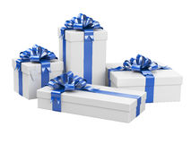 Gift boxes with blank gift tag Royalty Free Stock Image