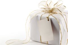 Gift boxes with blank label Royalty Free Stock Images