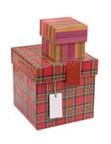 Gift boxes with blank tag Royalty Free Stock Image