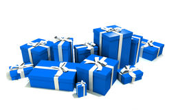Gift boxes in blue. 3D rendering of a big group of blue gift boxes with a white ribbons in different sizes Royalty Free Stock Photo
