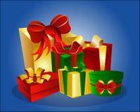 gift boxes on blue background royalty free illustration