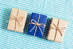 Gift boxes on blue background Stock Image