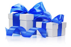 Gift boxes with blue bow isolated on the white background Stock Photo