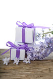 Gift boxes and blue hyacinth Stock Photo