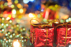 Gift boxes and bokeh lights Royalty Free Stock Images