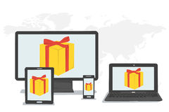 Gift boxes, bonus on monitors Royalty Free Stock Photography