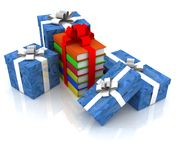 Gift boxes and books Stock Photography