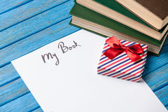 Gift boxes, books and paper with My Book words Royalty Free Stock Photos